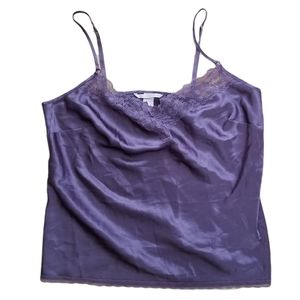 Victoria's Secret Purple Satin Cami Lace Tank